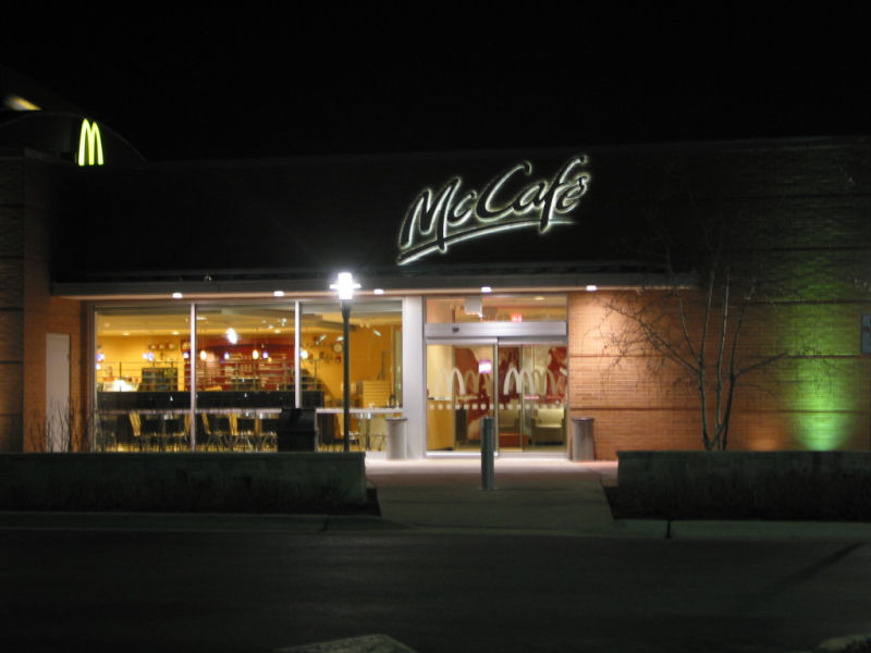The signage of negative space mccafe for 4 elements salon chicago